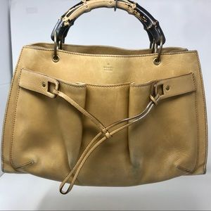 Gucci Tan Leather Bamboo Satchel w/ front pocket